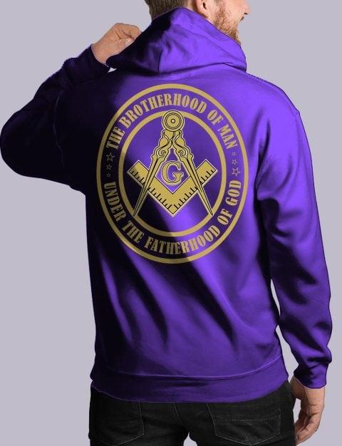 The Brothehood Of Man Masonic Hoodie Back bros of man back purple hoodie