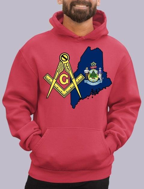 Maine Masonic Hoodie maine red hoodie