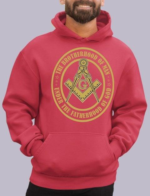The Brothehood Of Man Masonic Hoodie the brotherhood red hoodie