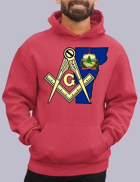 Vermont Masonic Hoodie vermont red hoodie