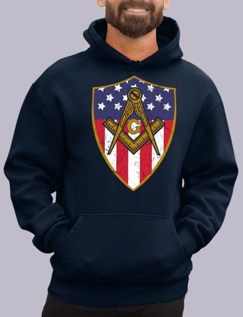 Old Union Shield Masonic Hoodie masonic shield navy hoodie