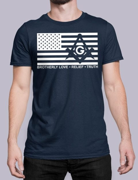 Brotherly Love, Relief and Truth Masonic T-shirt Brotherly Love Relief and Truth navy shirt
