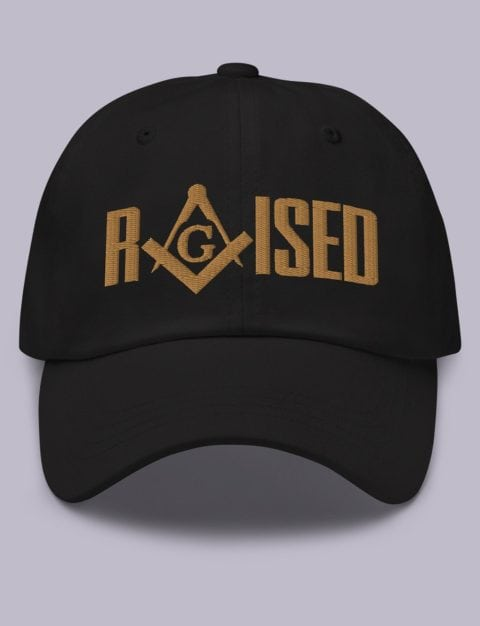 Old Gold Raised Masonic Hat Embroidery Raised masonic hat black old gold