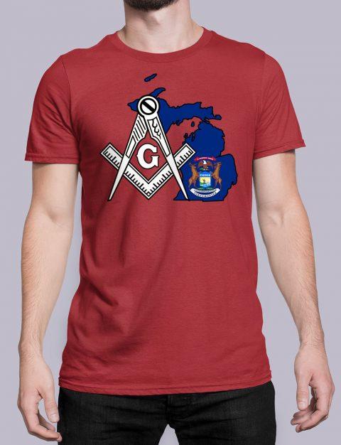 Michigan Masonic Tee Michigan red shirt