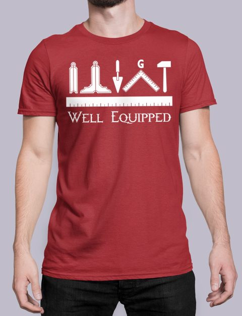 Well Equipped Masonic T-shirt Well Equipped red shirt 41