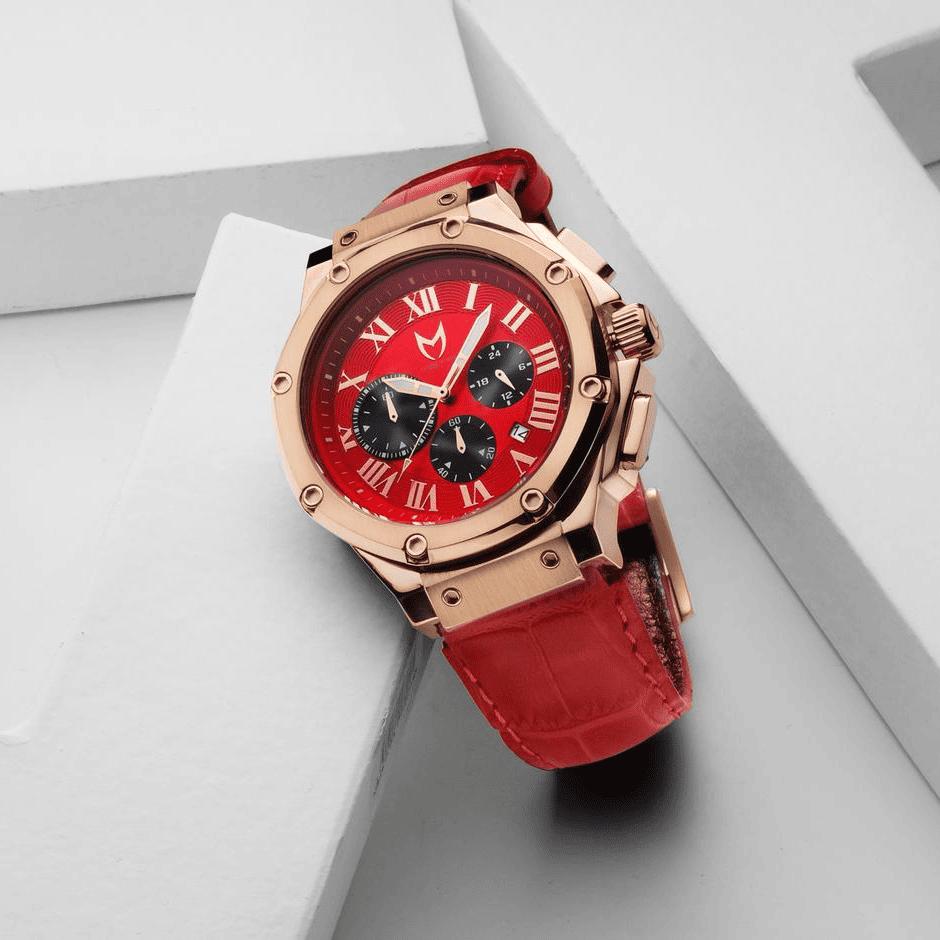 Rosengold & Rot – Leder