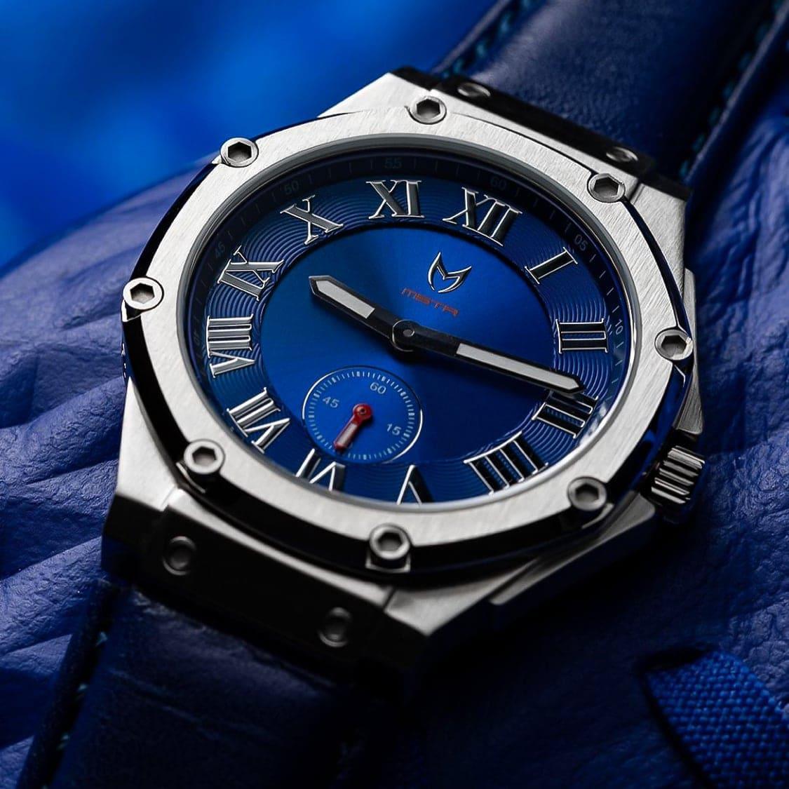 Silber & Blau- Leder
