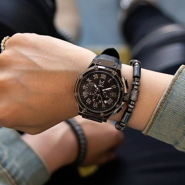 Polished Titanium – Leather