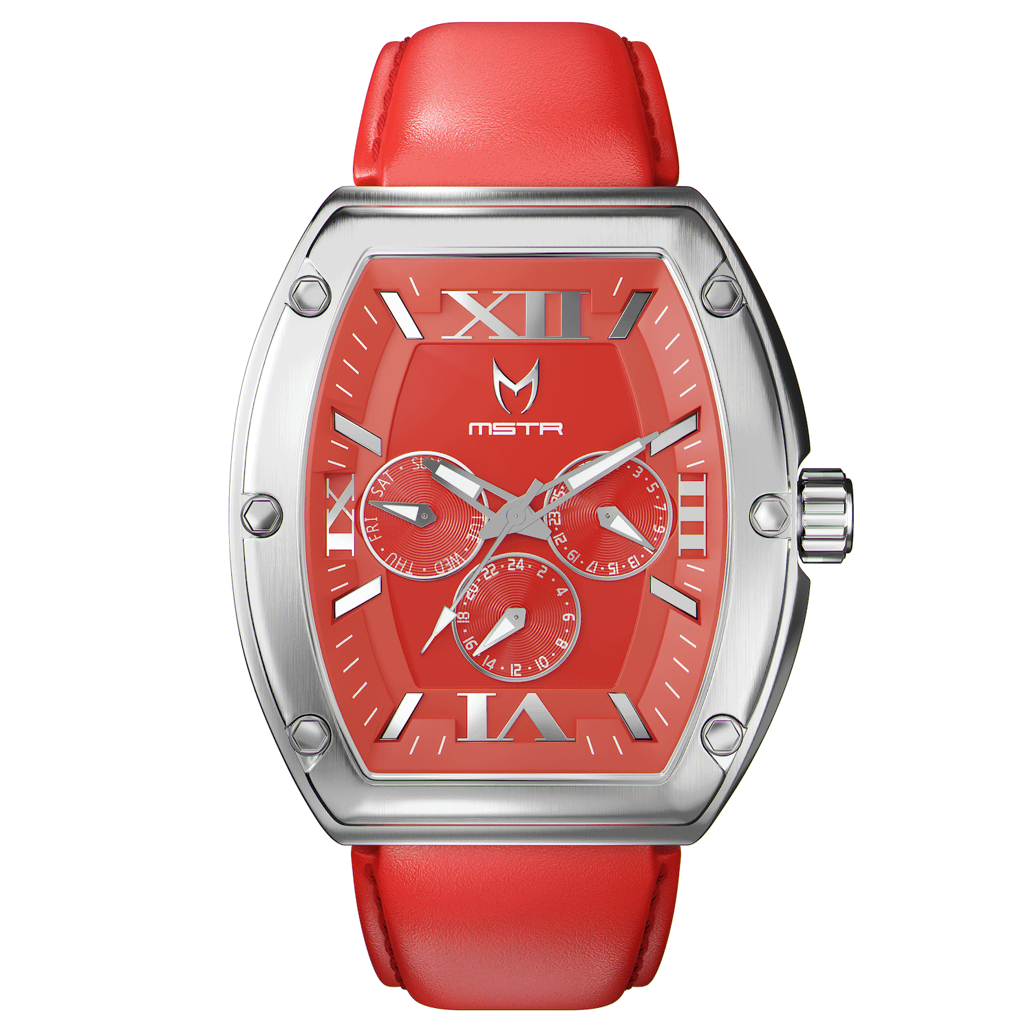 Silver & Red – Leather