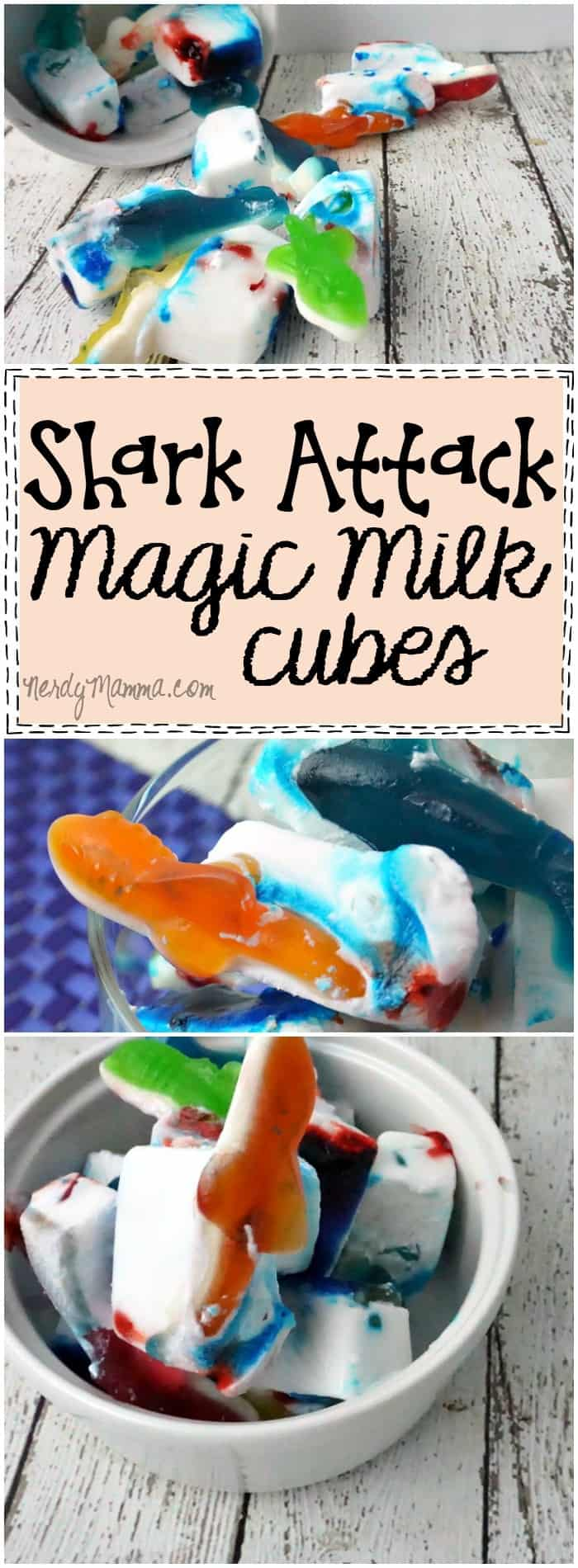 This is such a cute idea! And how easy...I love this recipe for Shark Attack Magic Milk Cubes...and they're really cute...
