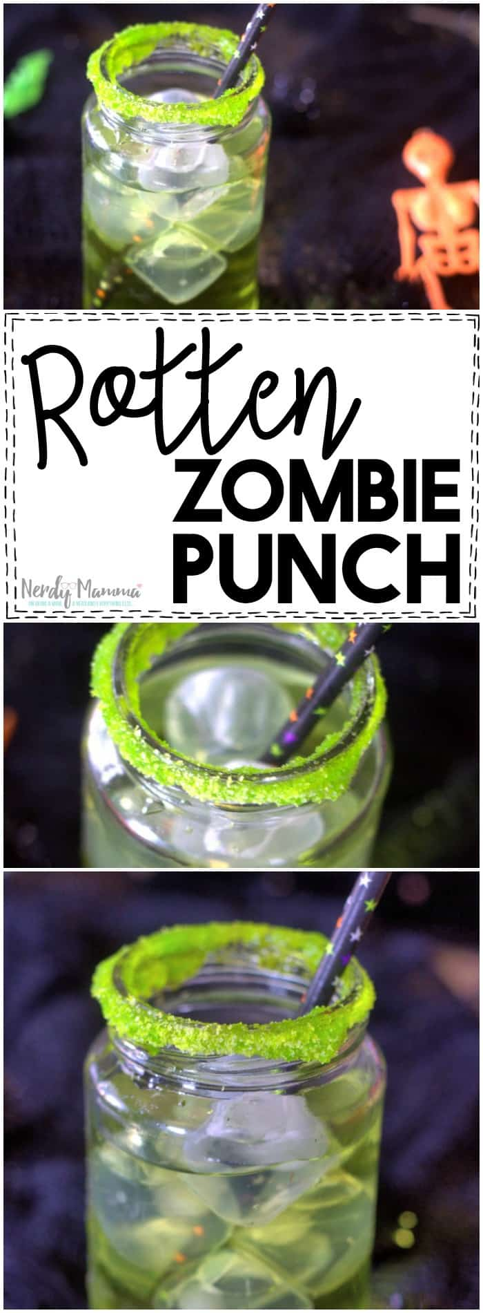 Ooooh, this recipe for Rotten Zombie Punch is so simple! The kids are going to love it!