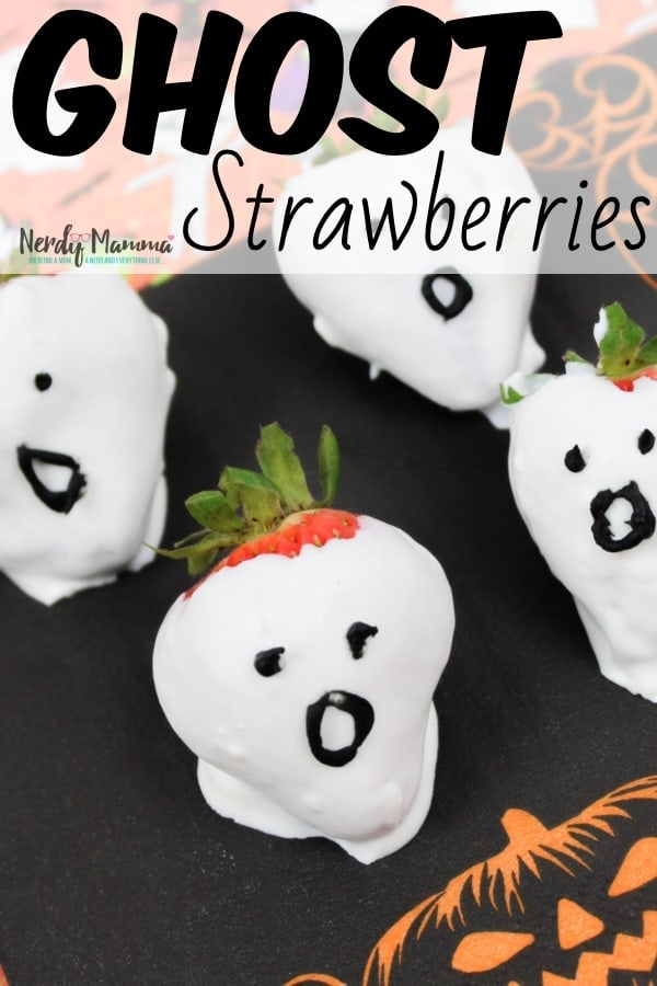 So, you're facing a school Halloween party? Yeah, me too. But we're ready, because we're making some easy Ghost Strawberries for our school Halloween party. Yep. I'm making 50 of these--but they're so simple, it's no big deal at all. #nerdymammablog #ghost #strawberry #halloween #party