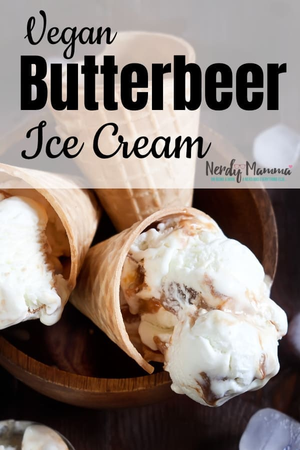 I am in love with this recipe for Vegan Butterbeer Ice Cream. Literally finished an entire batch on my own--and I can't wait to make a new one. #nerdymammablog #harrypotter #vegan #icecream