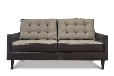 Redding Mid-Century Loveseat In Houndstooth And Black Leather
