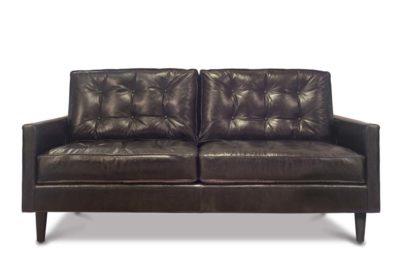 Redding Mid-Century Tufted Loveseat In Black Leather