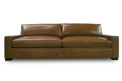 McQueen Caramel Leather Contemporary Square Track Arm Sofa