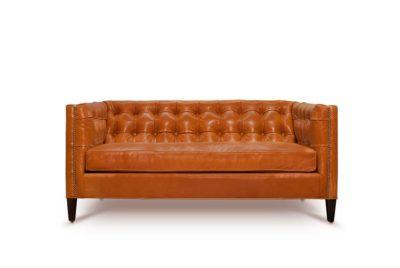 Dylan Mid-Century Orange Leather Tufted Tuxedo Sofa
