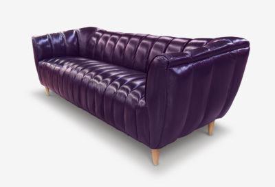 Hughes Aubergine Leather Art Deco Sofa