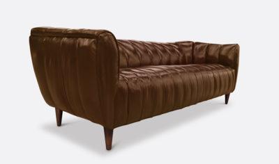 Hughes Tobacco Brown Leather Art Deco Sofa
