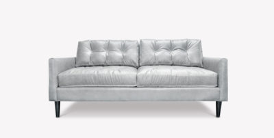 Jack White Leather Mid-Century Low Profile Knoll Style Loveseat