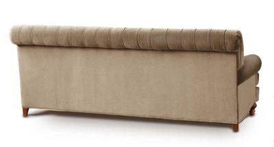 Kennedy Tufted Roll Arm Sofa In Beige Velvet