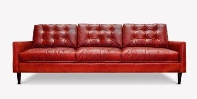 Redding Red Leather Mid-Century Sofa