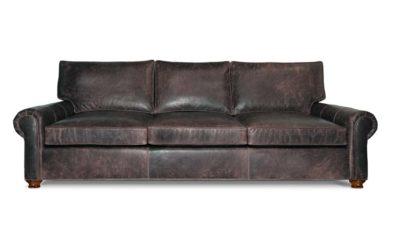 Anthracite Leather Roosevelt Roll Arm Sofa