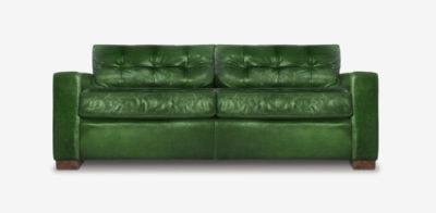 Brando Track Arm Sofa In Green Leather