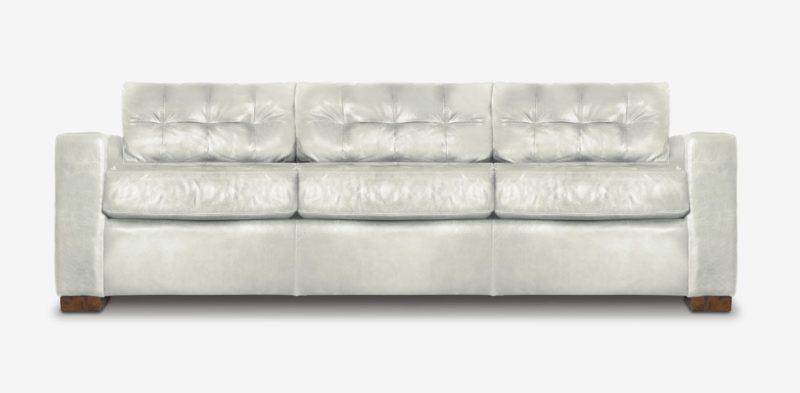 Brando Track Arm Sofa In White Leather