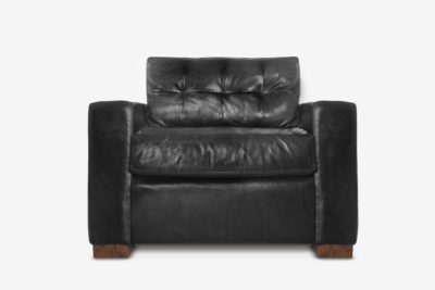 Brando Track Arm Chair In Black Leather