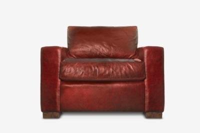 McQueen Armchair In Dark Red Leather