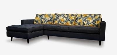 Custom Fabric & Leather Midcentury Sectional