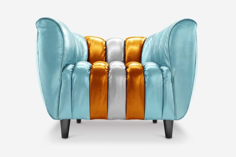 Hughes Art Deco Chair in Gulf Racing inspired Leather
