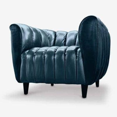 Hughes Art Deco Armchair In Duotone Navy Blue Leather