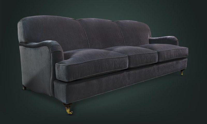 Kubrick Tight Back English Arm Sofa In Como Black Velvet