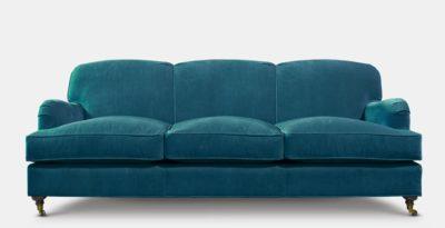 Blue Kubrick Tight Back English Arm Sofa In Como Cyan Velvet