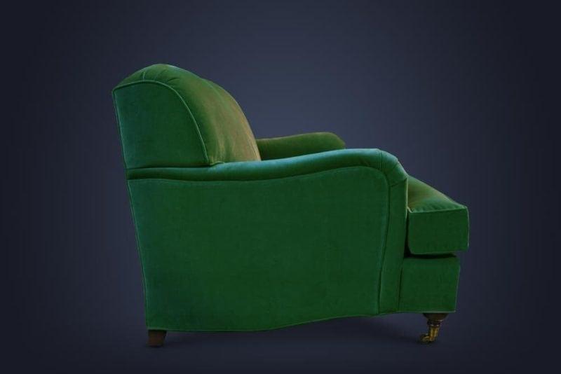 Green Kubrick English Arm Tight Back Sofa In Como Emerald Velvet