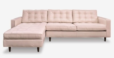 Millennial Pink Leather Redding Mid-Century Tufted Sectional