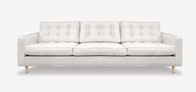 Redding Midcentury Sofa In White Leather