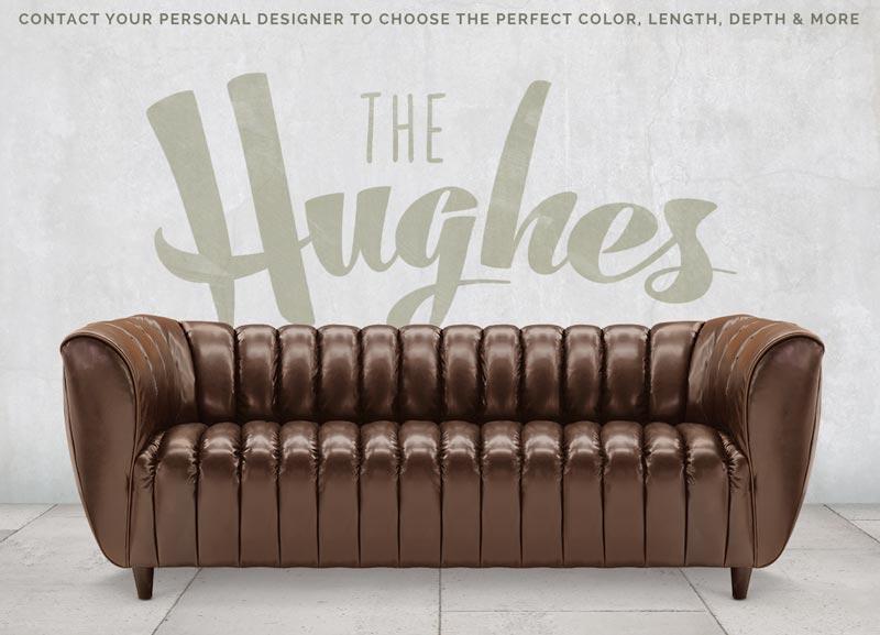 Hughes Art Deco Club Arm Leather Sofa