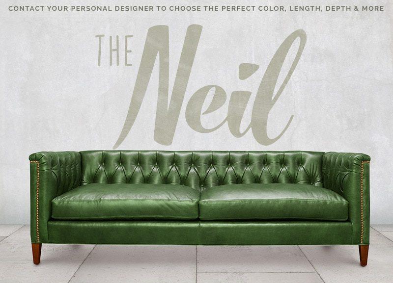 Neil Diamond Tufted Mid-Century Sofa