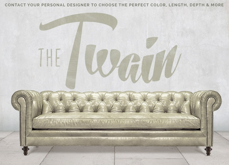Twain Wide Tufted Chesterfield Sofa in White Leather