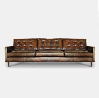 Redding Mid-Century Brown Leather Tufted Sofa