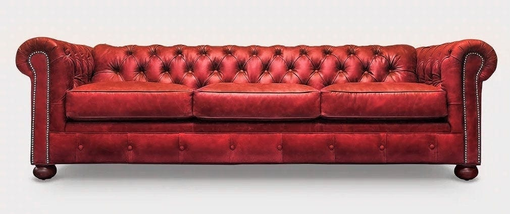Irving Classic Chesterfield Sofa in Red Leather