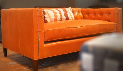 Dylan Mid-Century Leather Tufted Tuxedo Sofa