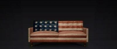 Concept Rendering Of Custom Painted American Flag Redding Mid-Century Sofa