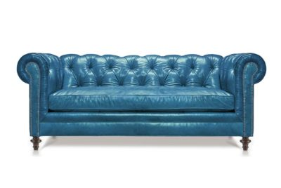 Twain Scalloped-Arm Chesterfield In Mont Blanc Blue Cloud Leather