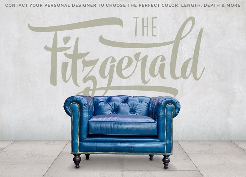 Fitzgerald Blue Leather Chair
