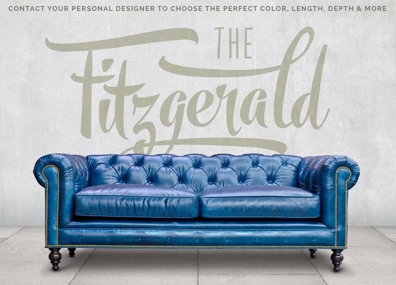Fitzgerald Blue Leather Sofa