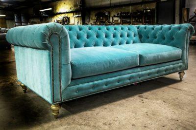Fitzgerald Aqua Velvet Classic Chesterfield Sofa